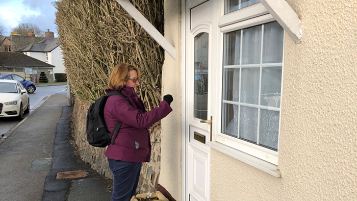 Philippa Purchase canvassing in Stratton