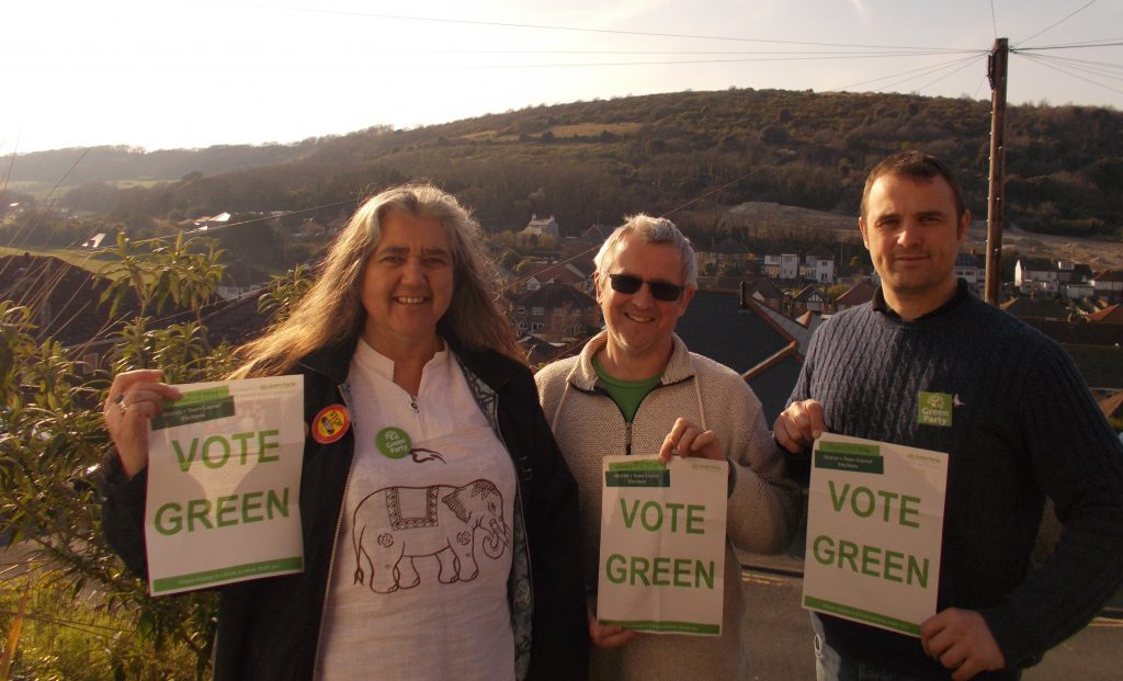 Dover candidates, left to right: Beccy Sawbridge (standing in Town and Castle ward), Nick Shread (standing in Maxton and Elms Vale) and Brian Murphy (standing in Tower Hamlets).