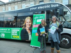 Alex Phillips and Beccy Sawbridge of Dover and Deal Green Party, in front of the electric bus