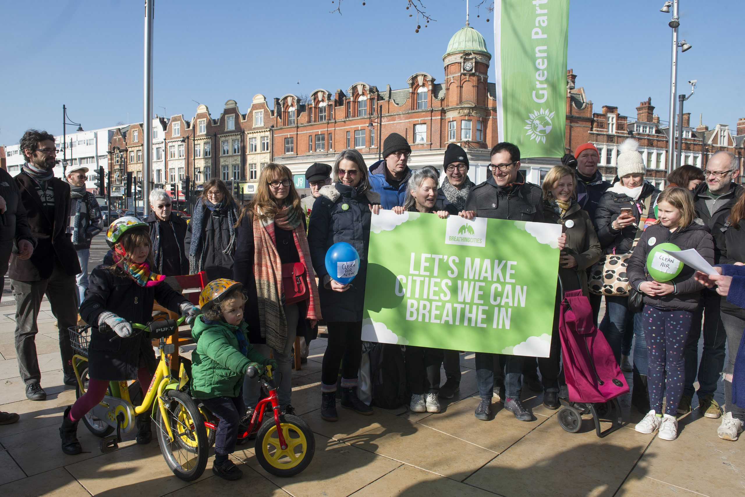 Green Party supporters in Windrush Square promoting the 'Breathi