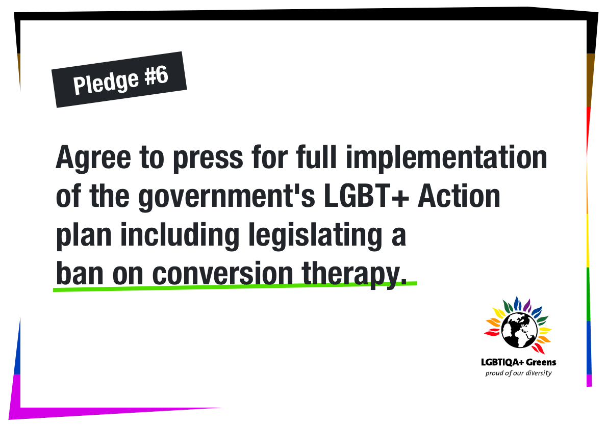 Agree to press for full implementation of the government's LGBT+ Action plan including legislating a ban on conversion therapy