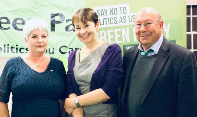 """Malvern Hills Councillors John Raine and Natalie McVey with Caroline Lucas MP at Lyttelton Well event"""