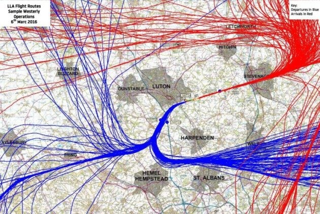 Snapshot of flight paths from Lu