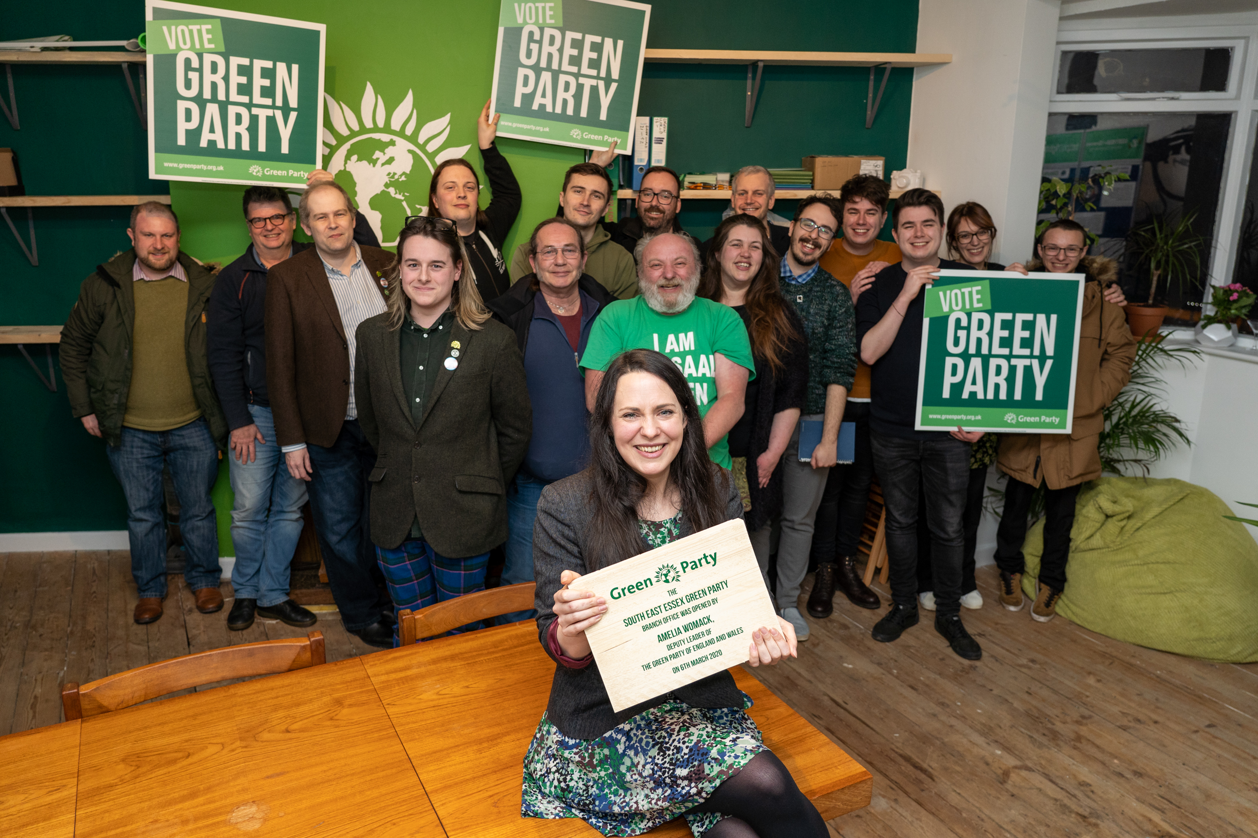 AMELIA WOMACK OPENING THE NEW gREEN pARTY OFFICE AT THE rAILWAY, sOUTHEND. Green Party Fundraiser at the Railway Southend with green economy stalls, guest speakers BENALI HAMDACHE and AMELIA WOMACK (deputy leader of the Green Party) and live bands.
