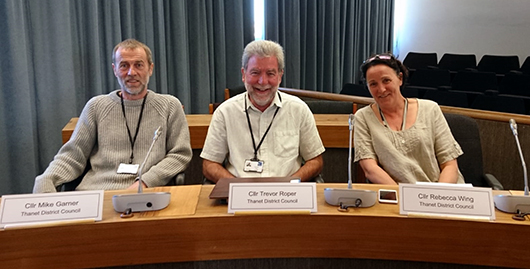 Your Green Party local Councillors Mike Garner (St Peters), Trevor Roper (Thanet Villages) and Becky Wing (Ramsgate Central Harbour) in chambers.