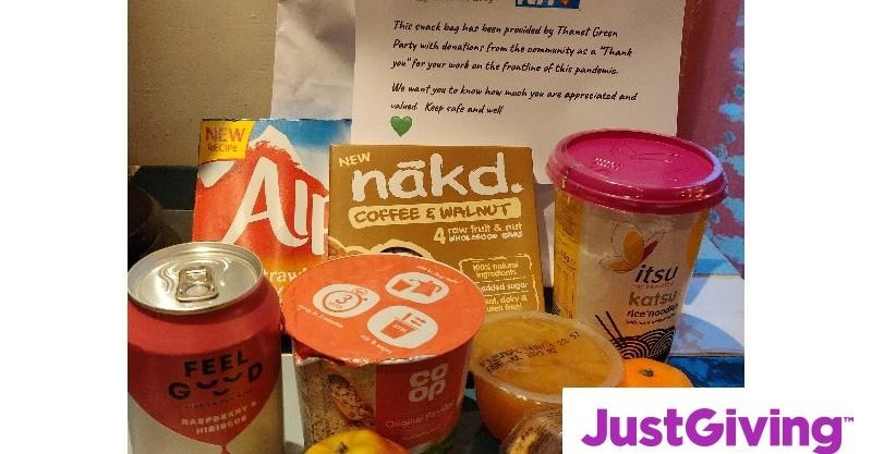 Snack bag example with Just Giving logo