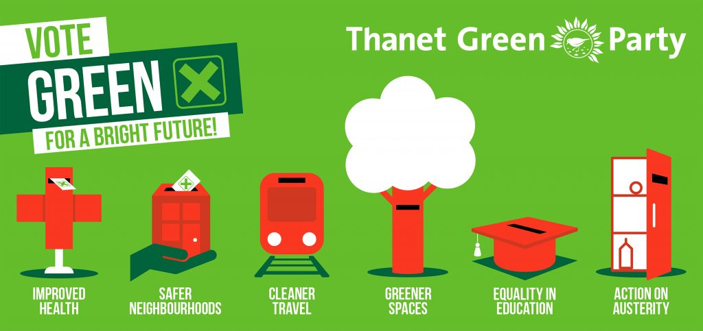 Red icons on green background and text: Vote Green for a bright future: improved health, safer neighbourhoods, cleaner travel, greener spaces, equality in education, action on austerity