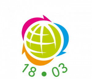 Global recycling day logo: green globe with multicoloured recycling arrows and the date 18.03