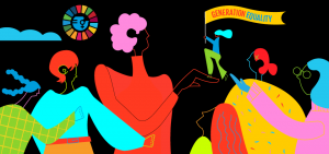 Colourful silhouettes of female figures, one holding a banner that says generation equality
