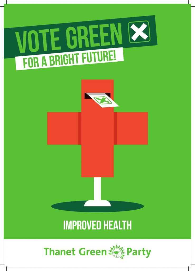 Election graphic - Vote Green for a brighter future - improved health