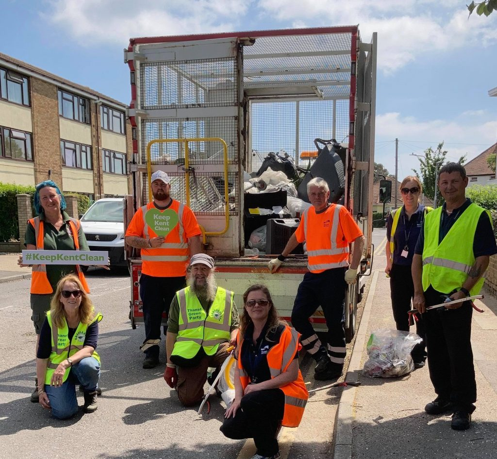 Litter pickers, including Thanet Green Party members
