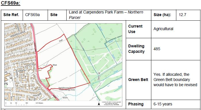 Site plan outlining potential site for development at Carpenders Park Farm