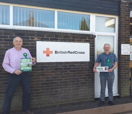 Chris Mitchell and Andrew Gallager stand outside the Red Cross Centre in Croxley Green